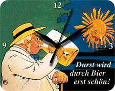 DURST WIRD DURCH BIER ERST SCHÖN  - Blechuhr Wanduhr Uhr Clock 56