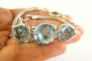 Blue Topaz 3-Stone Ornate Balinese Sterling Silver Toggle Bracelet