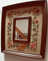 Vintage Needlepoint Embroidered Picture w/ Framed Mirror Ornate Wood Frame