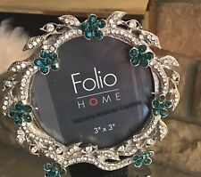 Folio Home Genuine Austrian Crystal Round Picture Frame Emerald Green Christmas