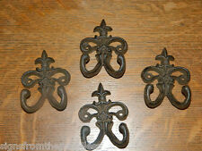 Set/4 Rustic French Fleur De Lis Tuscan Cast Iron Wall Coat Towel Pot Hldr Hook