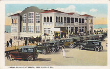 Postcard Pass A Grille Fl Casino on Gulf of Mexico 1920s Cars Beach white border