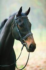 HDR Padded Dressage Bridle no Flash Black with White Padding Horse