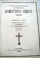 1872 MORTE DELLA MADRE DEL VESCOVO DI SAVONA GIAMBATTISTA CERRUTI DA VARAZZE