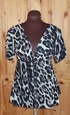 JANE NORMAN beige cream black grey leopard print tunic t-shirt top top 8 36