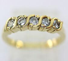 Diamond wedding band ring 14K yellow gold 5 round brilliant S design .50C sz7.25