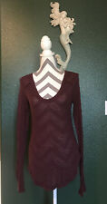 We The Free People Top Women's Size Medium Henley Long Sleeve T Shirt Burgundy