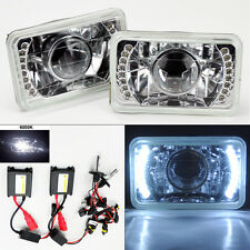 """4X6"""" 6K HID Xenon H4 Projector Clear LED DRL Glass Headlight Conversion Dodge"""