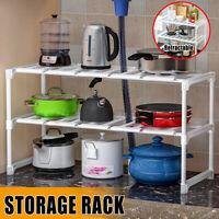 2 Tier Under Sink Expandable Kitchen Cabinet Shelf Organizer Bath Storage Rack