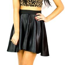 New Ladies Pvc Wet Leather Look Flared Womens Shiny Mini Skater Pu Skirt 8-14
