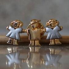 Girls Kids Community Children Hat Pigtails Pin - Silver Gold Tone Metal Boys