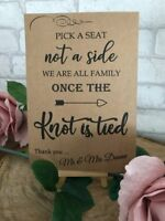 Personalised Pick a Seat Knot is Tied Wedding Table Sign Post A4 A3 Seating Plan