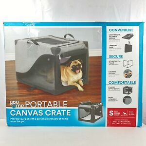 Portable Canvas Cat Dog Crate Carrying Case Bag Handles Size Small