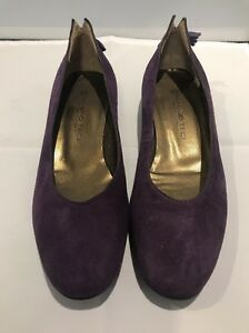 Designer Mauro Teci Leather Ballet Flats w Tassels, Purple Suede, Size 6 EU36.5