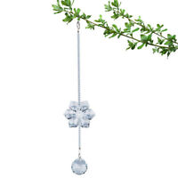 Clear Flower Crystal Glass Suncatcher Hanging Pendant Ornament Garden Decor