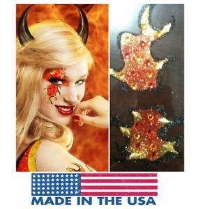 Blaze Devil Mask Glitter Reusable Makeup Sticker Fire Flames Halloween Costume