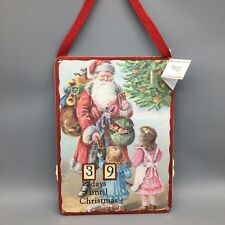 "Christmas Countdown Calendar Days Sign 15"" Primitive Santa Tree Kids Present NEW"