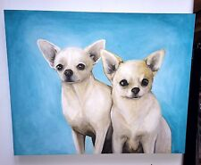 """Signed Painting Chihuahua Dogs Adorable """"Smiling"""" By Artist Dtr Ii - w/Sgraffito"""