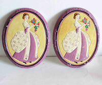 "2 Chalkware chalk Ware Wall Hanging Plaques period Lady mid century 8"" FREE SH"