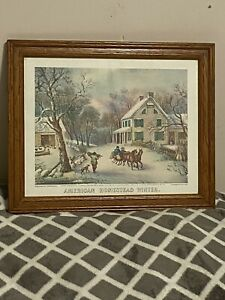 """Vintage Framed Currier & Ives """"American Homestead"""" Winter Color Print No. 4339"""