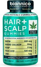 60 Hair Loss Gummies with Hemp-Biotin-Collagen-Zinc-Folic Acid Hair Loss Scalp