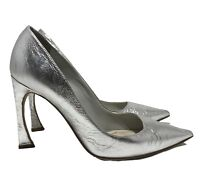CHRISTIAN DIOR SILVER POINTED TOE PUMPS, 36, $725