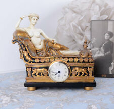 Chimney Clock Regency Female Act Aphrodite Table Deco Antique Figure New