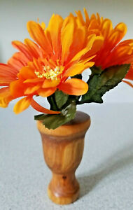 """Handcrafted CHERRY wood vase with artificial orange daisies, signed H3.5"""" x W2"""""""