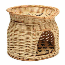 Wicker Two Tier Pet Pod Cat Dog Bed Basket and amp; Fleece Cushions ##