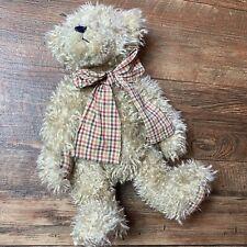 "Plush Boyds Bear- Head Bean Collection - Plaid Paws  14"" Jointed Bear"
