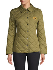 NEW BURBERRY Women US Small Light Khaki Logo Check Quilted Classic Jacket Coat