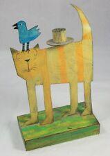 Acme Animal Candle Holder Cat / Bird Folk Art Cartoonish