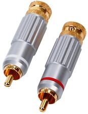 HQS-SCC009 HIGH END SHIELDED 24K GOLD PLATED RCA CINCH PLUGS ** NEW **