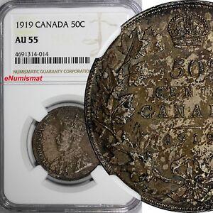Canada George V Silver 1919 (no mint mark) 50 Cents NGC AU55 Toned SCARCE KM# 25