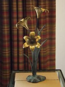 Bronze Brass Day Lily Sculpture Mid Century Modern