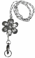 Trendy Women's Fashion Lanyard and Necklace, ID Badge Holder(Silver Flower)