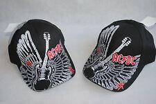 LOT OF 2 NWT AC DC YOUTH Boy Black HAT Guitar Wings baseball CAP SZ 7 - 16 Years