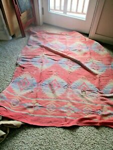 ANTIQUE NATIVE AMERICAN INDIAN COTTON BLANKET THROW RUG TAPESTRY VTG SOUTHWEST 2