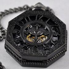 Men's Black Steel Octagon Hollowed Skeleton Steampunk Mechanical Pocket Watch