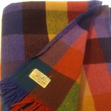 "Vintage Faribo 100% Wool Blanket Throw Multicolor Fluff Loomed 55"" x 64"" USA EC"