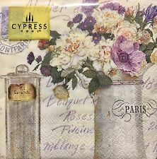cYPRESS Home 40 ct Cocktail Beverage Napkins, Purple White Flowers Lavender Oil