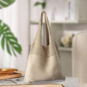 Women Large Capacity Shoulder Bag Woven Shopping Crossbody Satchel Girls
