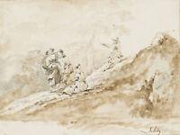 C.SCHÜTZ (1758-1823), Schäfer an einem Felsen, 18. Jhd., Pinselzeichnung