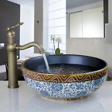Classical Ceramic Bowl Round Bathroom Vessel Sink Basin Antique Brass Faucet Set