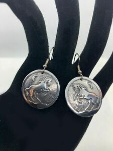 Western Equestrian Antique Silver Rearing Horse Disc Earrings