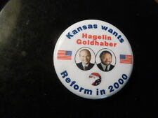 Kansas Reform Party Pin Back Presidential Campaign Button Hagelin Political