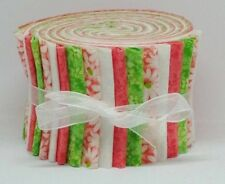 "Jelly Roll Strips Quilting Fabric 20~2.5"" Lime Green Coral White 100% Cotton Sew"