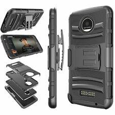 Motorola Moto Z Force Case Holster Belt Locking Clip Defender Kickstand Armor