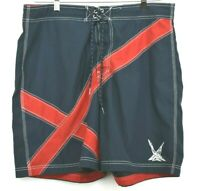 Nautica Mens Swimming Trunks Summer Casual Red & Navy Blue Size 38W