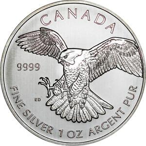 Canada 2014 Birds of Prey Peregrine Falcon $5 BU Coin .9999 Fine 1 oz Silver